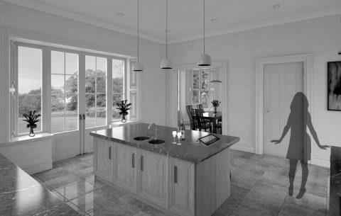 Upper Malone Road interior 3D rendering kitchen