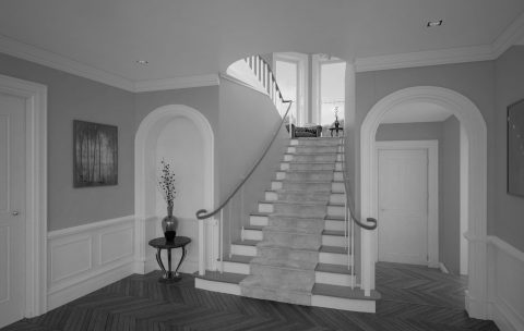 Upper Malone Road interior 3D rendering stairway